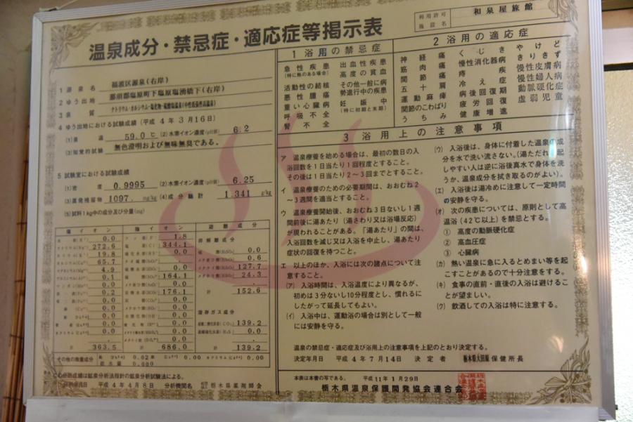 福渡温泉 和泉屋旅館の分析表