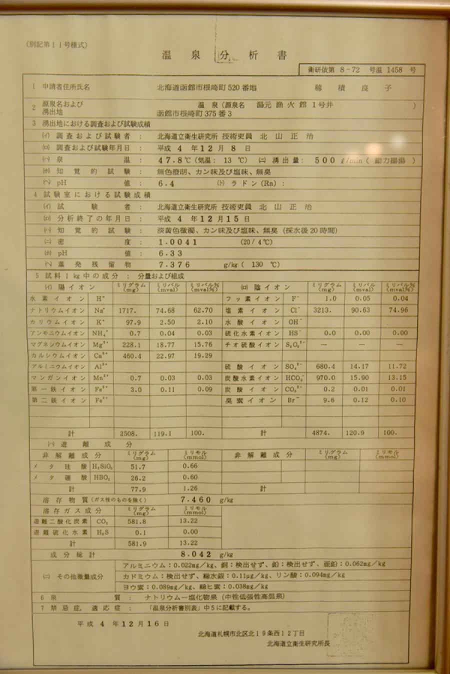 湯の川温泉 湯元漁火館の分析表